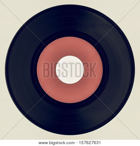 Vintage Looking Vinyl Record With Pink Label