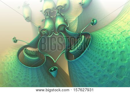3D illustration of virtual scenery with fictive carnivorous plant