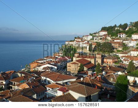 Old city on the waterfront of Lake Ohrid in beautiful morning sunlight, Macedonia