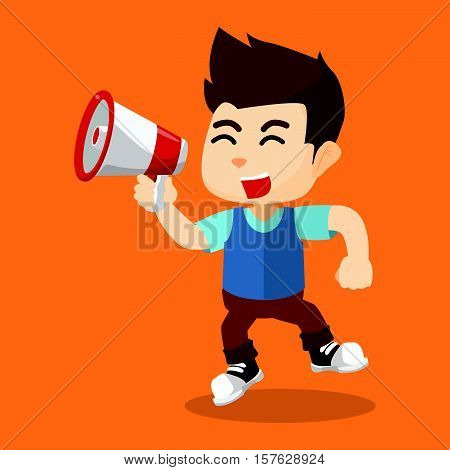 Boy yelling with megaphone eps10 vector illustration design