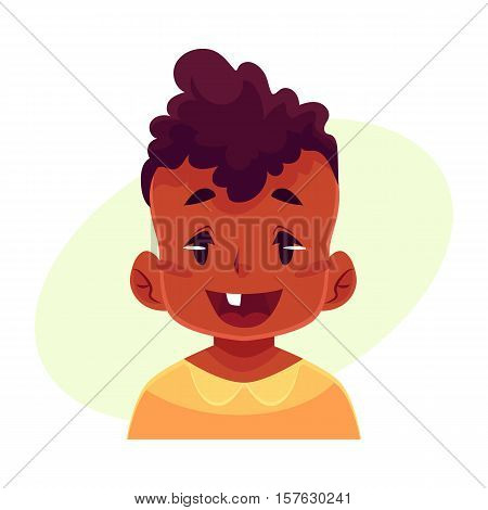 Little boy face, wow facial expression, cartoon vector illustrations isolated on yellow background. black male kid emoji face surprised, amazed, astonished. Surprised, wow face expression