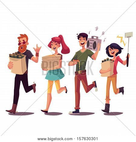 Set of friends hurrying to a party, fetching beer, pizza, music, making selfie, cartoon style vector illustration isolated on white background. Boys and girls getting ready for a party and having fun