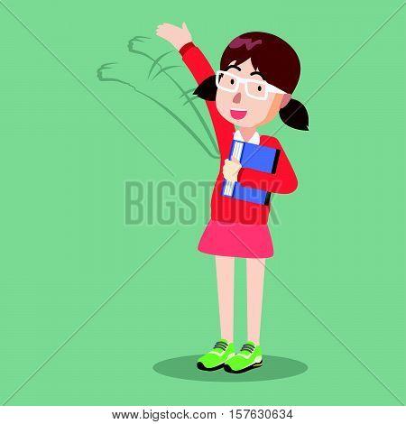 Girl saying hi eps10 vector illustration design