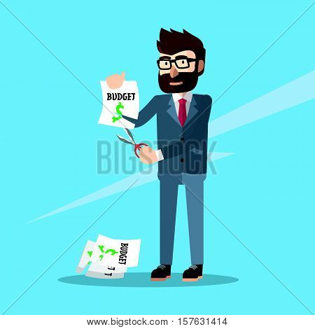 business man budget cut eps10 vector illustration design
