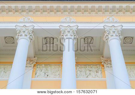 ST PETERSBURG RUSSIA-OCTOBER 3 2016. Columns and sculptures of Michael palace building of the State Russian museum in St Petersburg. Closeup of architecture details of St Petersburg landmark
