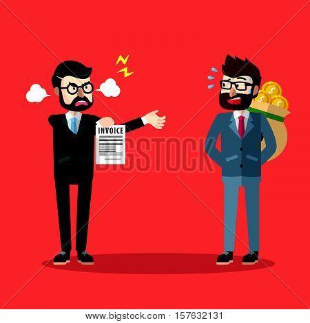 Business man hiding money eps10 vector illustration design