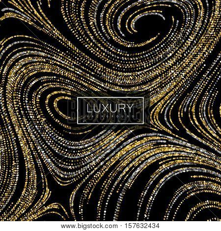 Luxury festive background with shiny golden and silver glitters. Vector illustration of glittering curled lines texture