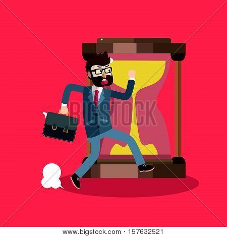 Business man getting late eps10 vector illustration design