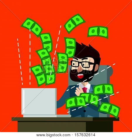 Making money online suprised eps10 vector illustration design