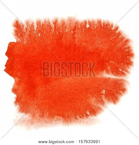 Red watercolor blot isolated over the white background