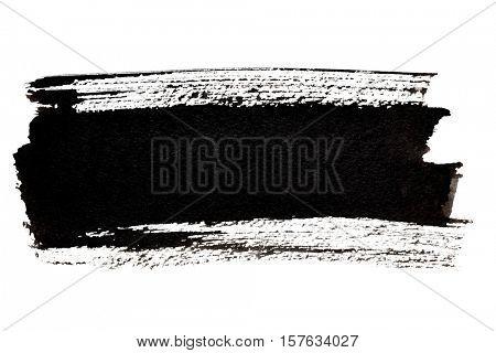 Black brush strokes isolated on the white background