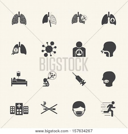 Lung cancer cause and prevention vector icons set