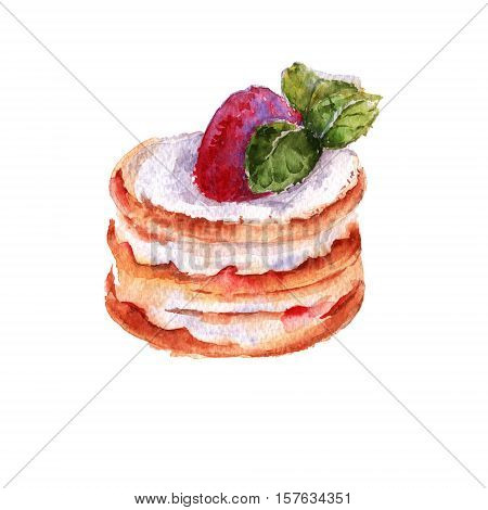 Cake in the style of Rostik's strawberry mousse. isolated on a white background. watercolor illustration.
