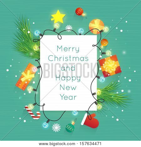 Merry Christmas and Happy New Year. New Year's toys, gifts on the wooden table top view and text. Postcard, banner, printed matter, greeting card. Flat design.