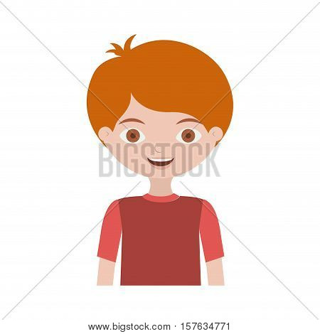 half body child with t-shirt and readhead vector illustration