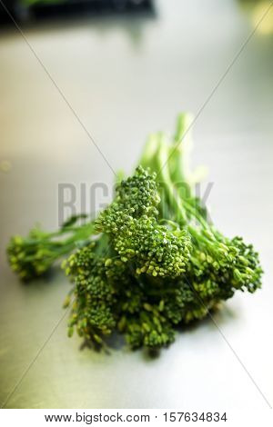 Bimi vegetable on a metal surface.