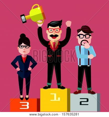 Business man competing eps10 vector illustration design