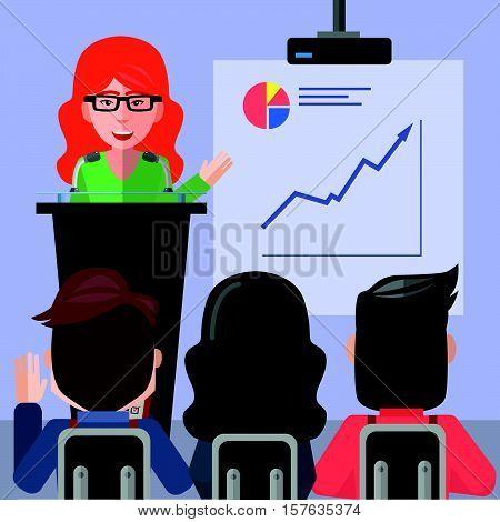 Business woman consultant presentation eps10 vector illustration design
