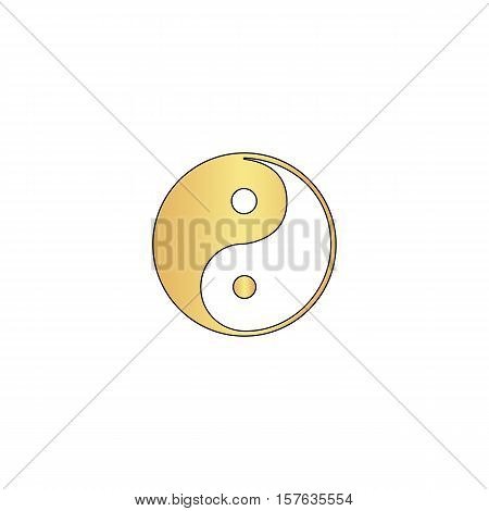 Ying-yang Gold vector icon with black contour line. Flat computer symbol