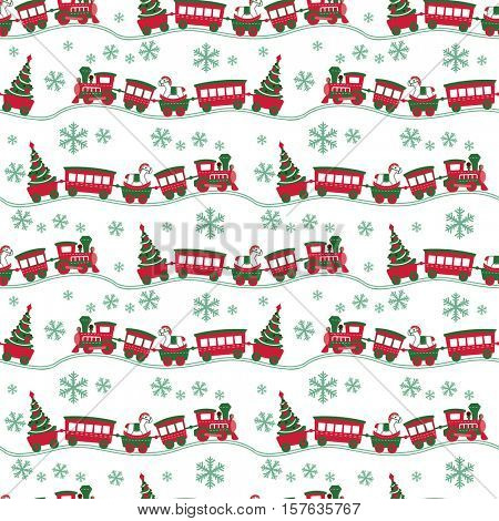 Christmas seamless background with cute toy steam train