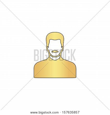 mustached man Gold vector icon with black contour line. Flat computer symbol