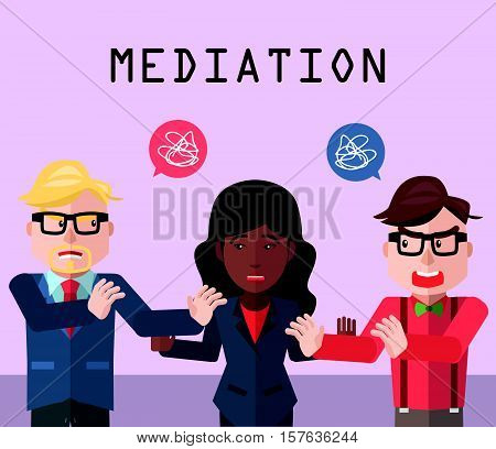 Partnership conflict mediator eps10 vector illustration design