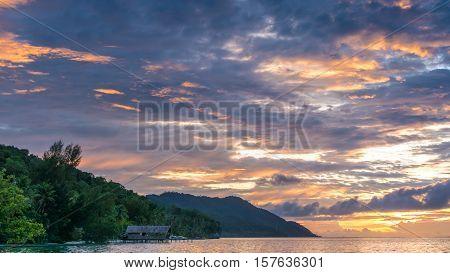 Sunset Sky over Kri and Monsuar, West Papuan, Raja Ampat, Indonesia.
