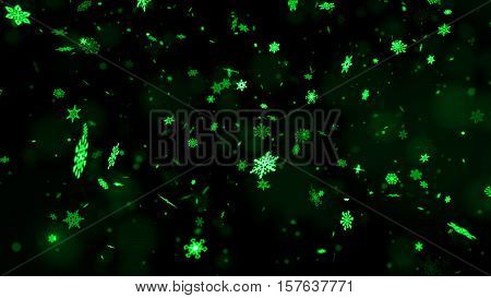 Christmas Snowflakes On Dark Background. Winter Background With Snowflakes. Holiday Greeting With Sn