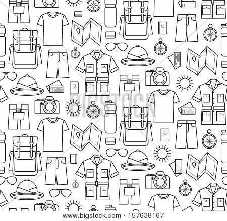 Vector icons pattern of safari planning a summer vacation tourism and journey objects and passenger luggage