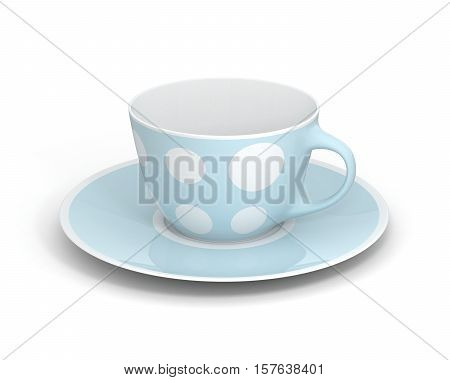 Isolated empty classic porcelain white tea cup on saucer with simple light blue pattern on white background. Mockup tableware. 3D Illustration.