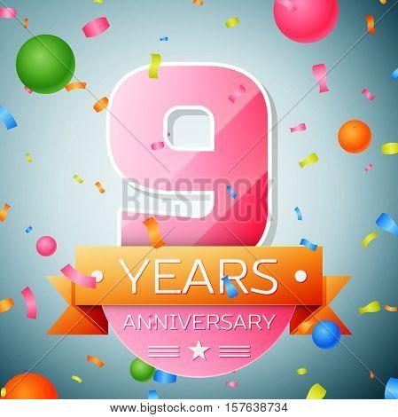 Nine years anniversary celebration background. Anniversary ribbon