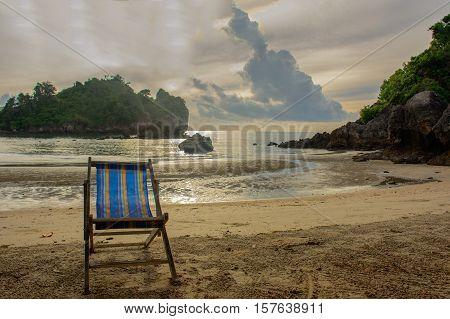 Sun bed on the beach in Bang SaphanThailand