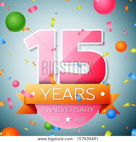 Fifteen years anniversary celebration background. Anniversary ribbon