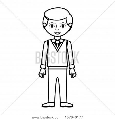 guy silhouette with formal suit and tie vector illustration
