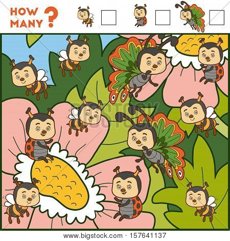 Counting Game For Preschool Children. Insects And Flowers