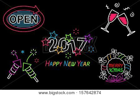 Happy New Year and Merry Christmas Neon Sign