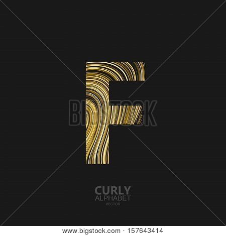 Curly textured Letter F. Typographic vector element for design. Part of marble or acrylic texture imitation textured alphabet. Letter F with diffusion lines swirly pattern. Vector illustration