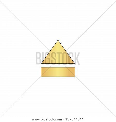 Eject Gold vector icon with black contour line. Flat computer symbol