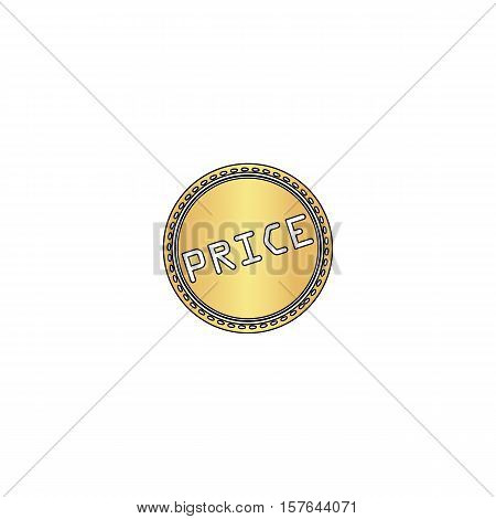 Price Gold vector icon with black contour line. Flat computer symbol