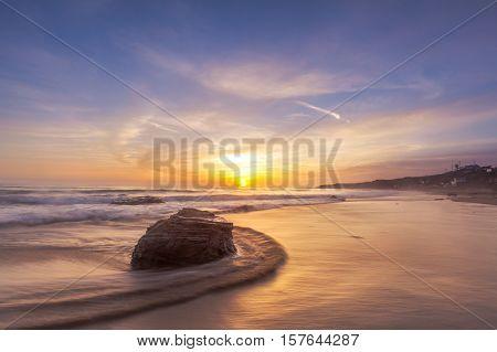 Beautiful sunset at Laguna beach in southern California