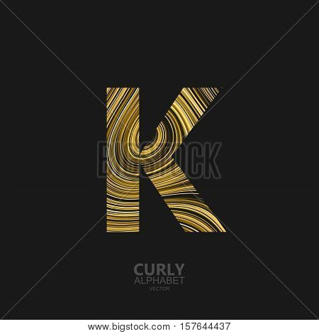 Curly textured Letter K. Typographic vector element for design. Part of marble or acrylic texture imitation textured alphabet. Letter K with diffusion lines swirly pattern. Vector illustration