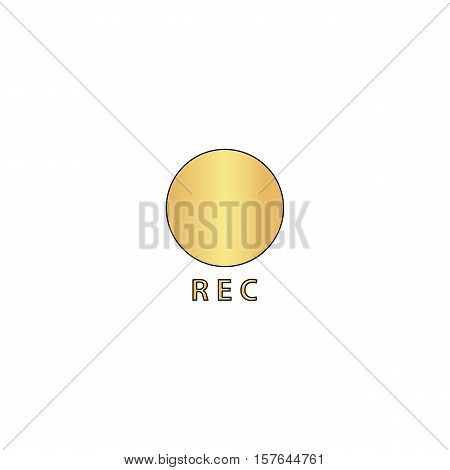 Rec Gold vector icon with black contour line. Flat computer symbol
