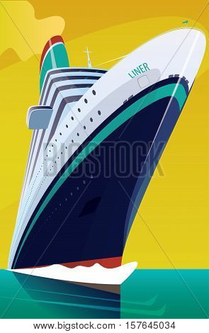 Cruise Liner Cuts Through The Waves