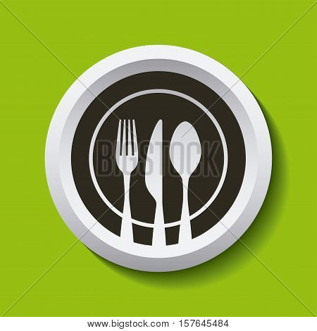 Circular Fork Knife and Spoon Silverware Icon over green background. colorful design. vector illutration