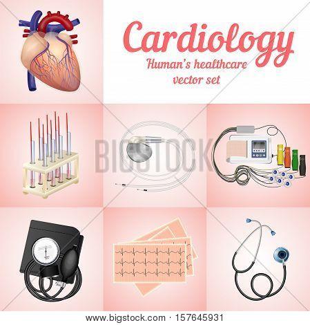 Cardiology set. Medical Supplies. Human's healthcare and devices for heart research system. Vector illustration.