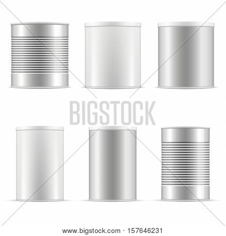 Tin can collection including white can metal can aluminum can. Different sizes of tin cans with plastic cap for baby powder milk tee coffee cereal grain and other products. Vector packaging set.