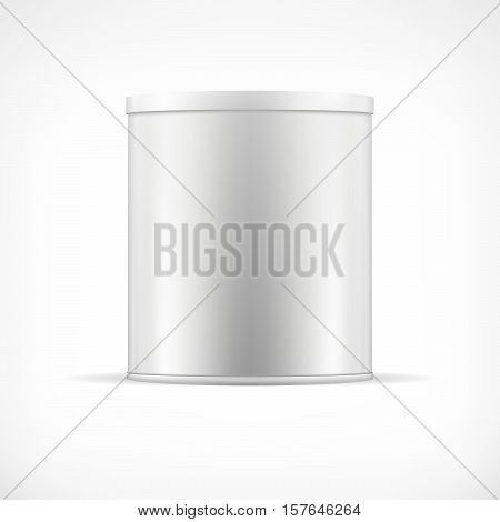 White tin can with plastic cap. Realistic round container for dry products (tea coffee spice sugar cereals cookies). Realistic vector mock up template. Food packaging collection.