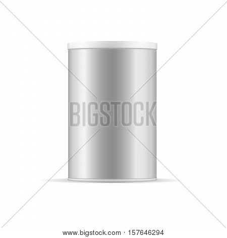 Round grey glossy tin can with lid. Container for products - tea coffee sugar cereals candy spice cookies powder milk and others. Realistic packaging vector mockup template.
