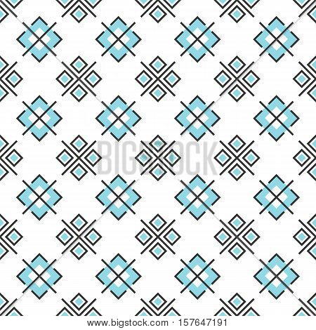 Abstract seamless pattern with geometric elements. Vector wallpaper on white background. Modern style blue and gray rectangles