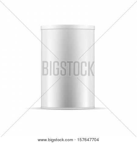 White tin can with lid. Realistic round container for dry products (tea coffee spice sugar cereals cookies). Realistic vector mock up template. Food packaging collection.